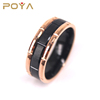 Tungsten Rings For Mens Wedding Band Black & Rose Gold Brick Pattern Engagement Promise Jewelry
