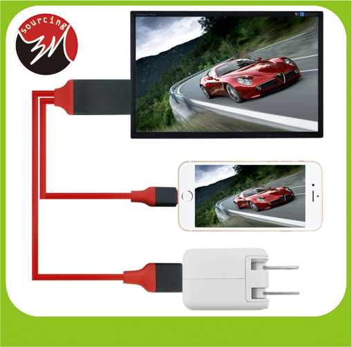 New Arrival 1080P TV HD Adapter 8 Pin USB To MHL HDTV Cable for iPhone 5 5s 5C 6 6s 7 iPad Enjoying Music Video Movies