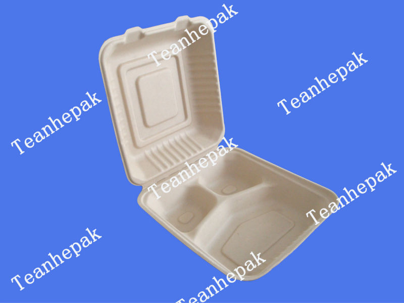 original wheat straw fiber 1000 ml 2 compartment disposable food container
