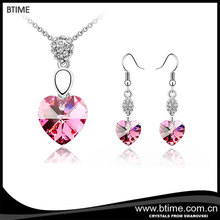 Wholesale fashion necklace and earrings heart shaped jewelry set Crystals From Swarovski