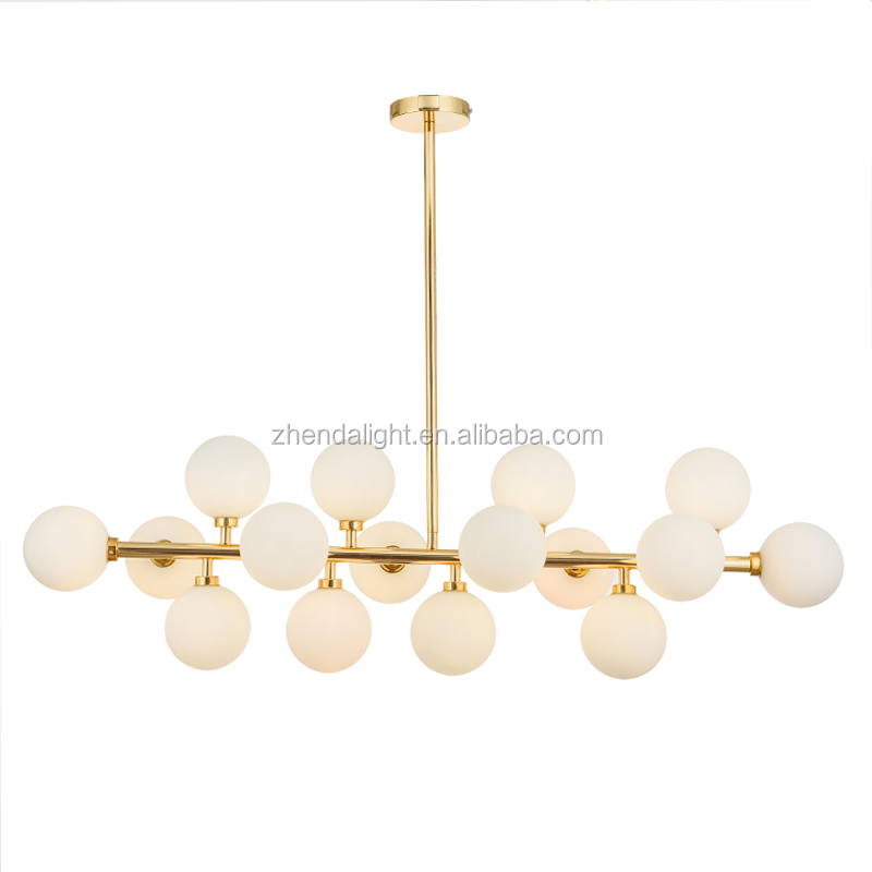 Wholesale Nordic <strong>Modern</strong> Frosted Glass Gold Iron Chandelier light with 16 arms