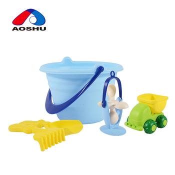 Funny summer outdoor play game happy sand plastic beach bucket sets for kids