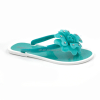 RMC glossy PVC Matte and transparent petals form bold flowers flip-flops