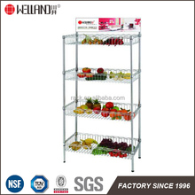 NSF Approval Fruit Store 4 Tiers Chrome Plated Steel Basket Wire Shelving Rack