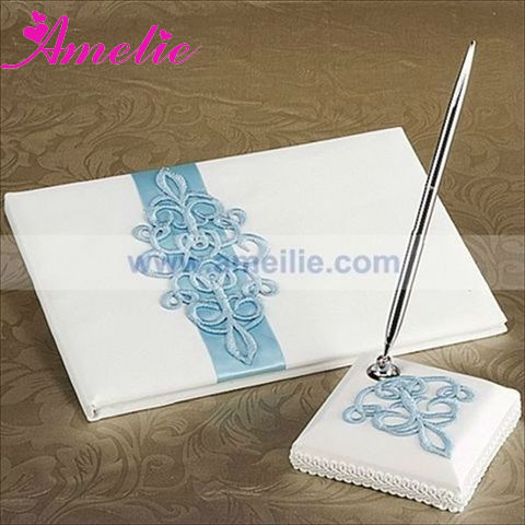 A07941 Teal Scroll Wedding Guest Book