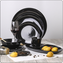 Versatile Matte Black Ceramic Dinnerware Sets Moon Plate , Bowl and Horse Cup