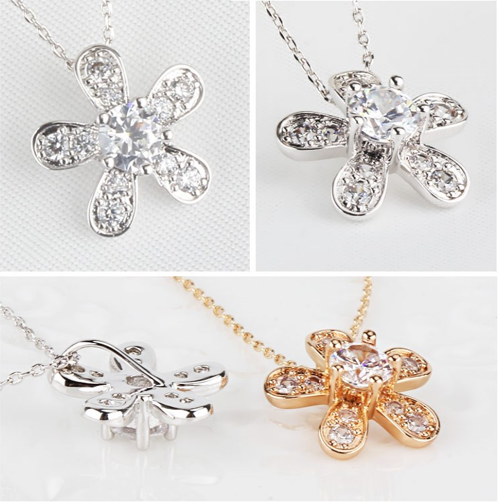 OUXI Fashion Design Necklace Jewelry Beautiful plum blossom flower shaped cubia zirconia zinc alloy pendant necklace