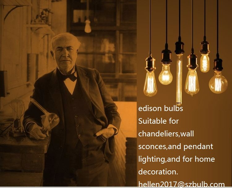 Retro style edison pendant lighting bulb 40w 60w e26 e27 110v 220v vintage squirrel cage tungsten filament lamp G80