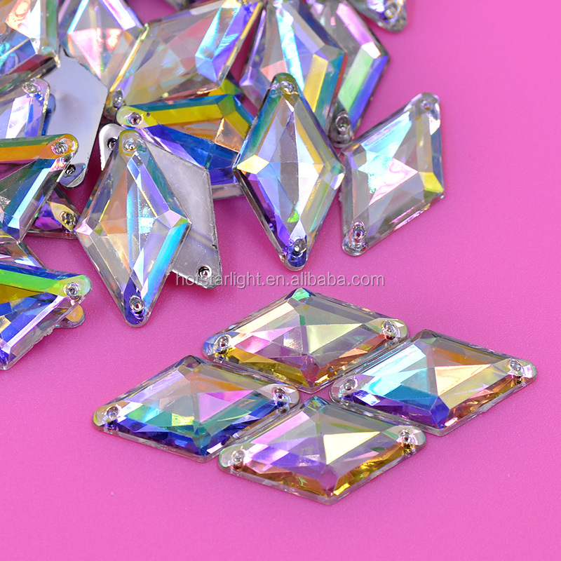 11*18 Sewing Crystal AB Rhinestones Sew On Rhombus Diamond Shape Flatback Acrylic Gems Strass for Clothes