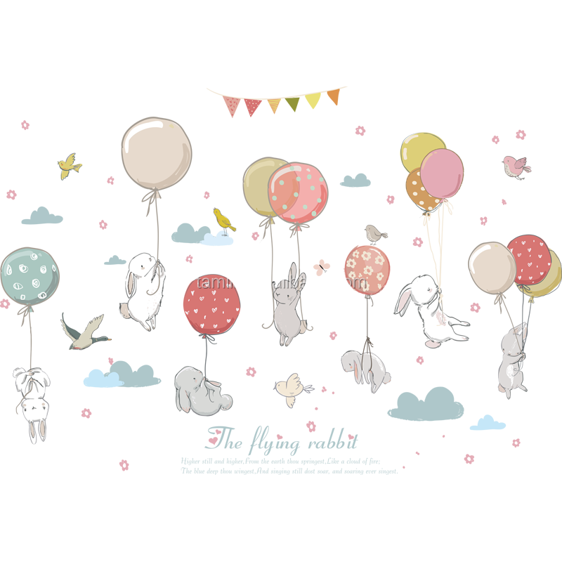 High Quality PVC Removable Cartoon Balloon Flying Rabbit Wall Sticker For Kids Rooms Animal Printed Home Decoration