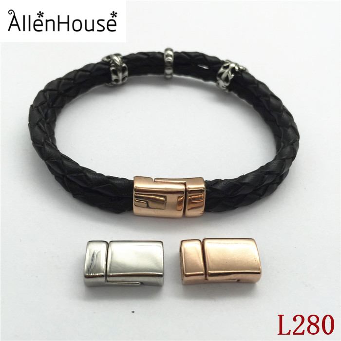 promotion double strands 8mm Flat rose gold and silver magnetic stainless steel clasp for two 4mm round braided leather cords