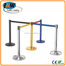 Stainless Steel Barrier Bollard Blue / Black / Red Belt Queue Fence
