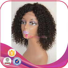 14 Inch Short Curly Invisible Deep parting Lace Wig Brazilian Virgin Human Hair Deep Left parting Lace Wig for African American