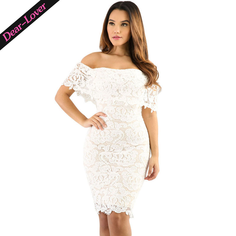 2017 Wholesale Women Lace Off Shoulder Bodycon Dress