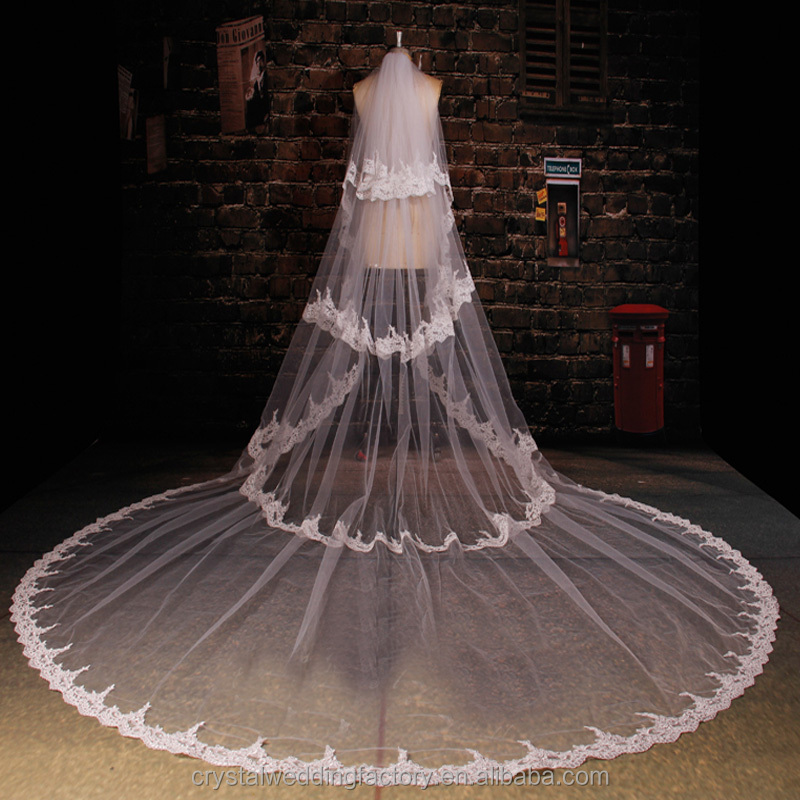 2017 wholesale long flower cathedral wedding veils accessories four layers 5 meters long and 3 meters width with comb LV10
