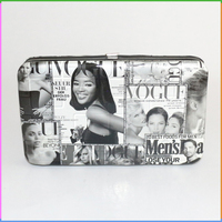 Hot Fashion Grey Color Magazine Printed Evening Clutch Bag for Women