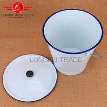 High quality best selling white/ivory enamel bucket ceramic bucket with lid