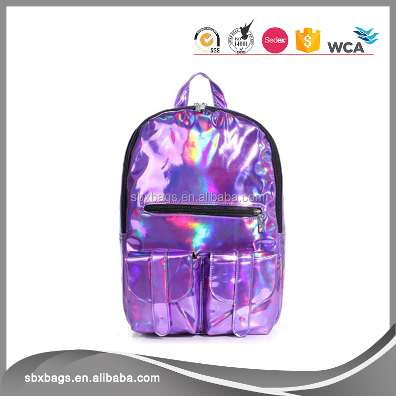Rainbow Hologram Reflective Mirror Surface Pu Leather Backpack