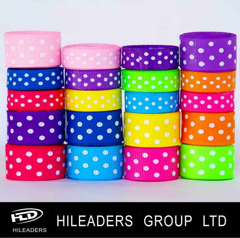 Wholesale High Quality Grosgrain Dot Printed Ribbon