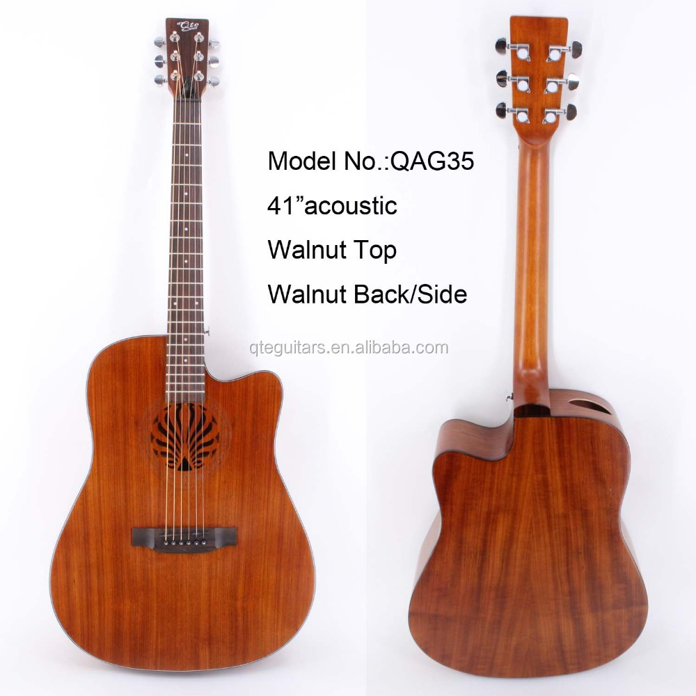 "QAG35 41"" lower strings action with nice sound Smoothly frets without sharpe all walnut china made guitars"