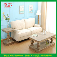 2016 Best Selling Antique Solid Oak Wood white leather lounge suite