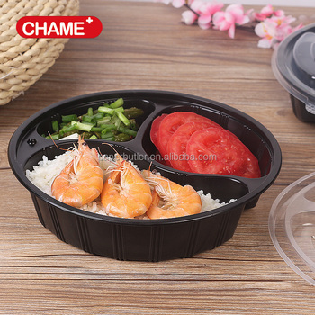 Custom round plastic compartment Take Away plastic Fast Food Box
