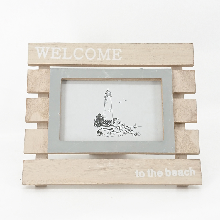 Nautical Wood Color Free Stand Wooden Photo Frame On Table