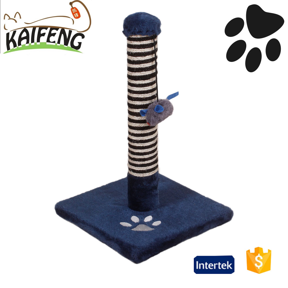KF manufacturer cheap cat kitten paw print sisal material cat scrtacher tree of cat scratcher with funny mouse toy