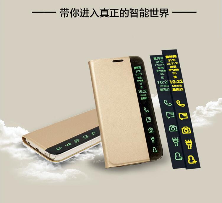 New arrival design smart display pu leather wallet flip case cover for huawei p8 mate 7