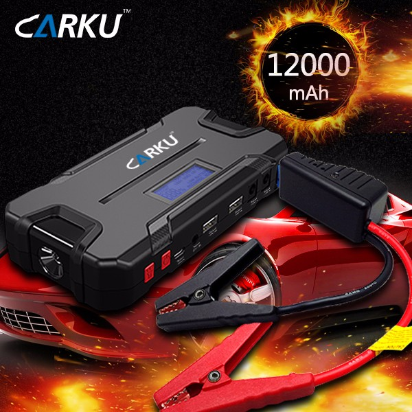 Hot selling 12000mah car battery charger Dual 2.4A USB output power bank portable car jump starter with charge display