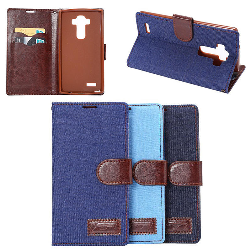 Jeans cloth card holder leather case for LG G4,for LG G4 leather case