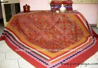 Tribal Ethnic Handmade Mirror Work Kantha quilts fabrics with intricate embroidered with mirror work Kantha Tagai work all over