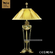Traditional Baroque Spanish Antique Bronze Lights Yellowish Decorative Lampshade Copper Crystal Fabric gun table lamp