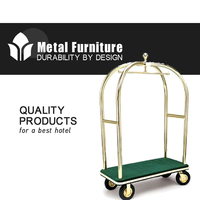 Hotel Factroy Directly Brushed Stainless Steel cart for luggage carrying