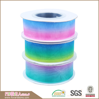 High Quality OEM Rainbow Colors Wholesale Organza Ribbon for Gift Packing