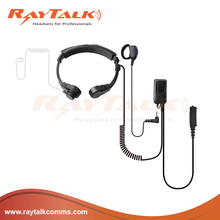 Dual throat microphone headset with acoustic air tube for Motorola 2pin plug