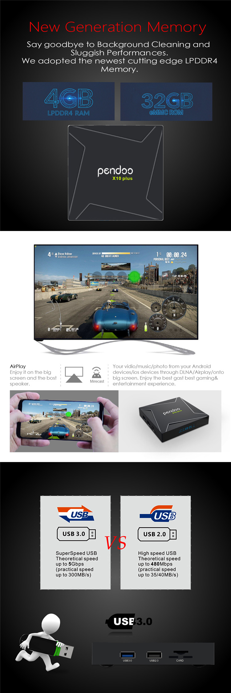 Android 8.1 tv box Pendoo X10 Plus Amlogic S905X2 4K 4GB DDR4 RAM 32G ROM KD player 18.0 Smart Tv Box 10 Plus