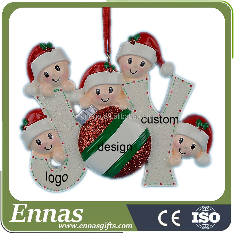 Hand Painted Personalized Polyresin Christmas Ornament with unique logo design
