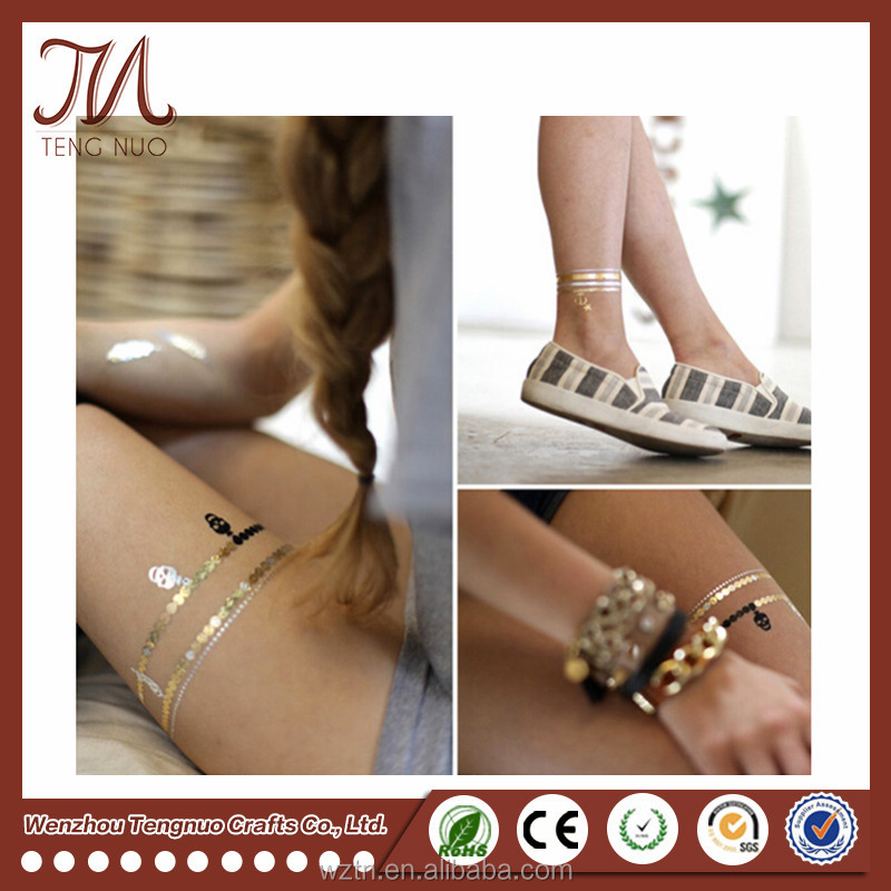 Customise Design Body Temporary Metallic Flash Tattoo Stickers Wholesale