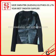 2013 new fashion design knit sweaters,women zipper cardigan with leather