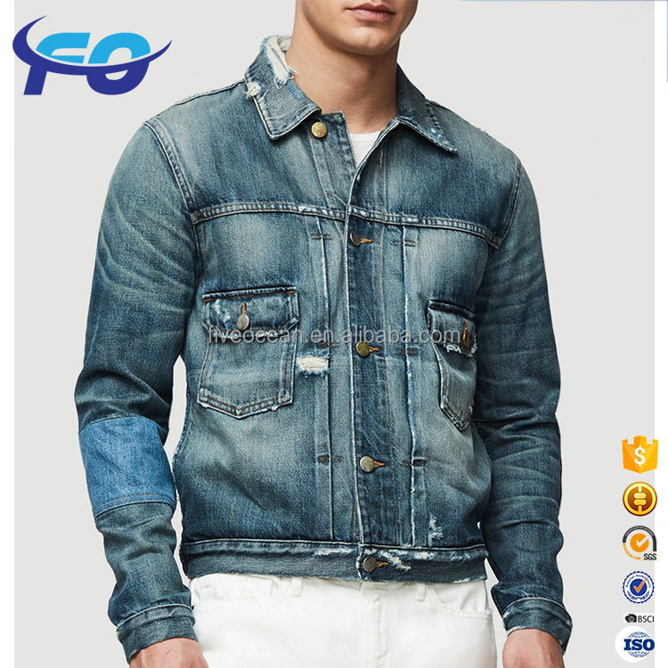 Custom Wholesale Patchwork Stylish Finely Processed Mens Ripped Denim Jacket
