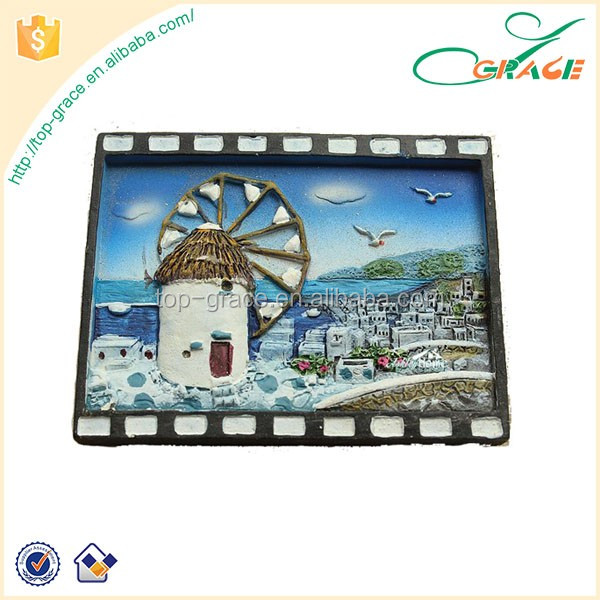 Custom greece windmill tourist travel souvenir 3d resin fridge magnet