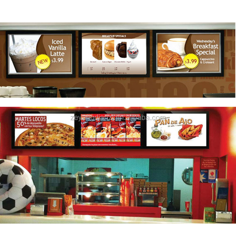 hot advert <strong>led</strong> restaurant menu post light panel for fast-food