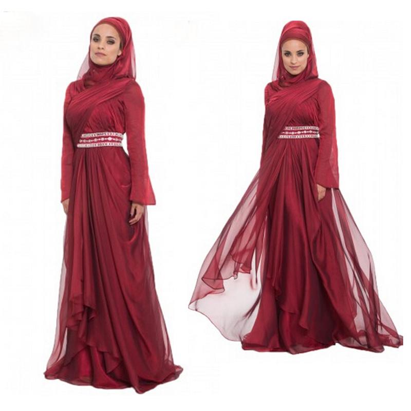 776ff539c71 Get Quotations · Arabic Muslim Long Formal Dress Party Evening Elegant  Sequin Beaded Kaftan Long Sleeve Chiffon Evening Gowns