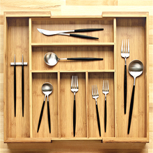 Kitchen Tableware Expandable Bamboo Cutlery Tray