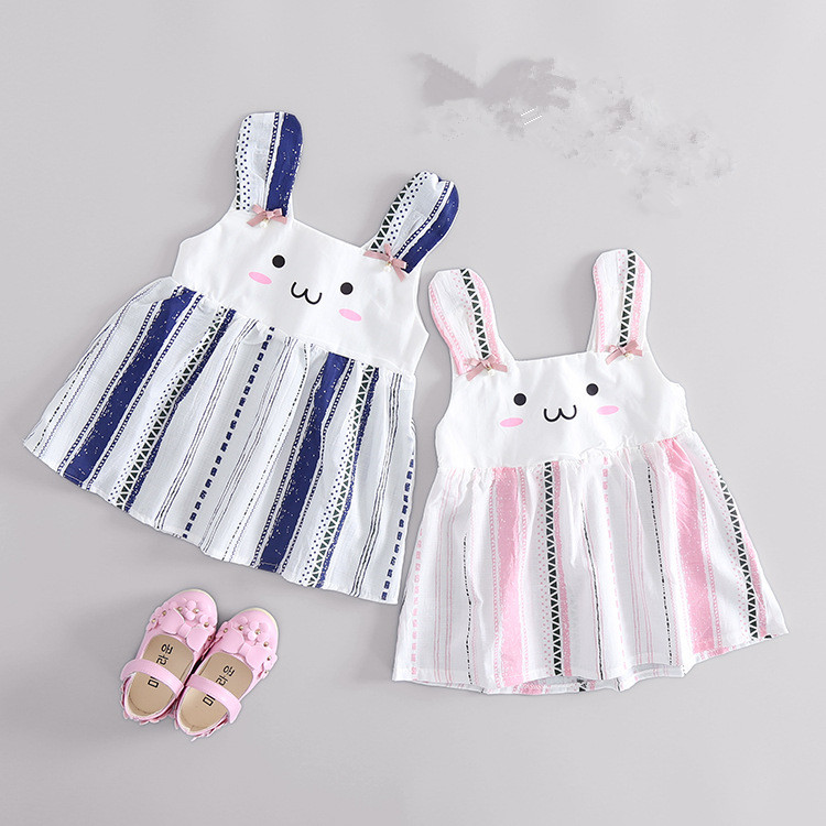 QK230 2017 Children summer dress girl child lovely Bunny princess dresses
