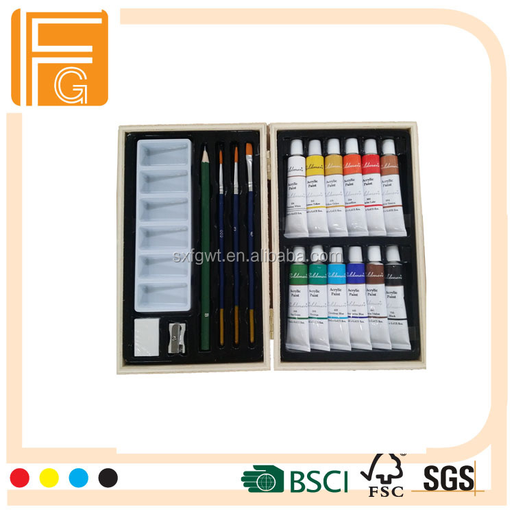 19pcs used painting acrylic paint set