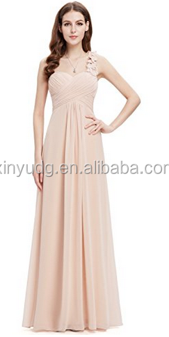 Ever Pretty Flower One Shoulder Empire Waist Floor Length Bridesmaids Dress