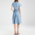 Fashion New Designer Mid Light Blue Mini Short Sleeve Shift Casual Plus Size shirt dresses
