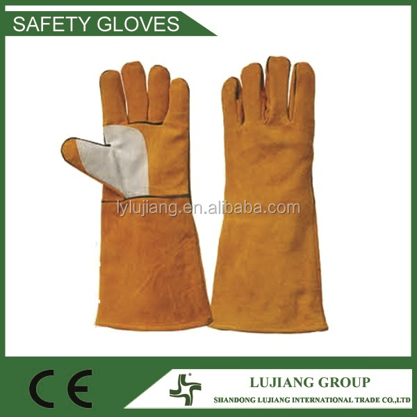16'' yellow welding gloves Leather glove with double pulm